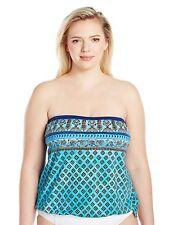 Maxine of Hollywood Plus Size Island Paisley Bandeau Tankini, Blue Hawaii, 16P