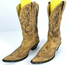 Corral Women's Cowboy Western Boots 7.5M Distressed Embroidery Pointed Toe Tan