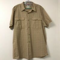 The North Face Men's Tan Brown XXL Short Sleeve Button Front Plaid Shirt