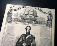 Rare BATTLESHIP Ornate Masthead Gleason's Pictorial PRINTS 1858 Old Newspaper