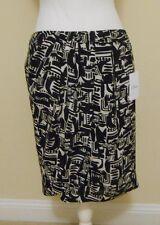NWT CHAUS Black & White Geometric Print 100% Silk Skirt Size 8
