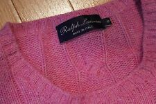 NEW Ralph Lauren Purple Label Cable Knit Sweater Magenta Pink 100% Cashmere