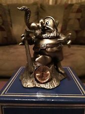 Dwarf Happy L.E. clock and pewter figure from Disney's Snow White & Seven Dwarfs