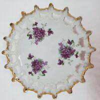 Vintage Candy Dish Trinket Dish Purple Flowers Reticulated Lattice Gold Edge