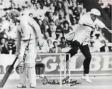 DICKIE BIRD & DAVID GOWER In Person Signed 10x8 Photo CRICKET Legend Proof COA