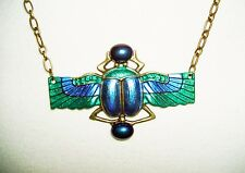 Blue Green SCARAB Necklace BEETLE WINGS Glass Stones Beads Art Deco Revival