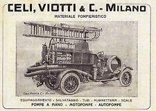 PUBBLICITA' 1918 CELI E VIOTTI MILANO MATERIALE POMPIERI MOTOPOMPE AUTOPOMPA
