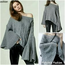 Lovely Womens Heather Gray Long Flare Sleeve Loose Pullover Sweater ML