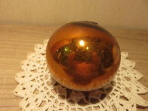 Ancienne boule de Noël dorée en verre mercurisé, églomisé Meisenthal