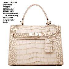Small White Beautiful Shoulder Crossbody Party Handbag Look Like Snake Skin Lock