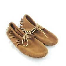 Vintage Minnetonka Moccasin Suede Leather Fringe Boho Ankle Boots Shoes sz 10
