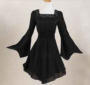 lace black gothic tunic top long sleeves plus size women blouse shirt dress
