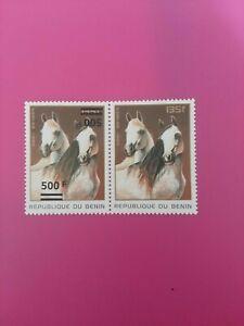 Bénin surchargé overprint 500f sur 135f neuf MNH cheval double frappe tenant san