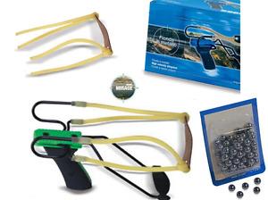 kit fionda doppio elastico potente + elastici + 100 sfere precisione