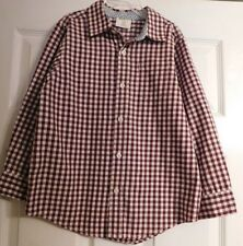 Boys Crazy 8 Long Sleeve Button Up Shirt Size S 5-6 Boy's Plaid Burgundy White