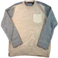 SCOTCH & SODA Mens Jumper Large Ivory Wool Sweatshirt Pullover