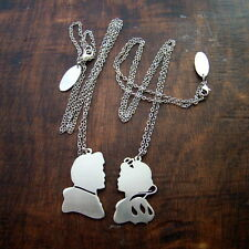 Disney couple Snow White and Charming pendant in white bronze  handmade