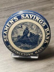 Celluloid Dime Bank Seamans Savings Bank, Provincetown, Mass,