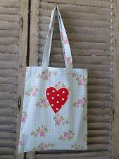 Blue Check Shopper Market Bag Tote Bag Heart Applique