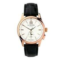 Links Of London Regent Men's Watch White Rose Gold Bnib 6020.1149 Black Strap