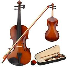 More details for new 3/4 size acoustic violin fiddle+case + bow + rosin for beginner gifts