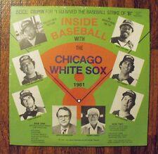Inside Baseball Chicago White Sox 1981 LP 33 1/3 Vinyl Harry Caray Carlton Fisk