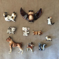 Vintage Mini Porcelain Animal Figurines Owl Spotted Deer - Lot of 10