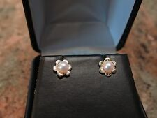 14kt Yellow Gold Flower Design Pearl Set Earrings w/Box