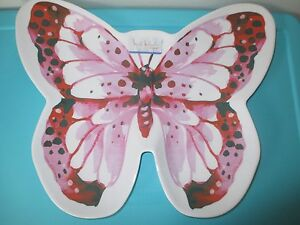 NEW Nicole Miller MELAMINE Serving Tray Plate Pink Butterfly Pool Patio