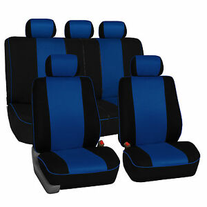 Blue & Black Car Seat Covers with Piping Full Set Airbag & Split Ready 2 Row Set