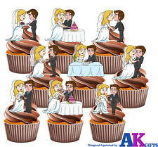 Bride and Groom Party Pack Mix 36 Edible Cup Cake Toppers Wedding Decorations