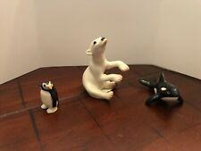 Lot of 3 Vintage Hagen Renaker Mini Figurines ~ Polar Bear Penguin Killer Whale