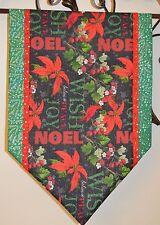 "Table Runner Christmas Handmade, Poinsettia Holly New 14"" x 41"" Noel sparkly"