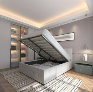 Velvet Double Storage Bed Frame 4ft6 5ft Ottoman Gas Lift Bedroom King Size #