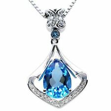 """Mabella Pws008ct 3.05 Cttw PEAR Shaped 8mm X 11mm Created Blue Topaz inSterling Silver Pendant With 18"""" Chain"""