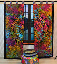 Ethnic Mandala Design Indian Boho Style Center Pattern Art Curtain 2 Panels Set