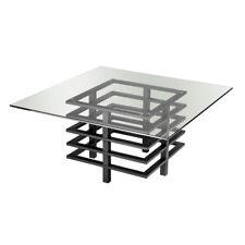 Large Monaco Square Coffee Table Metal Frame Glass Top Side End Display Unit New