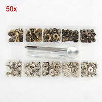 50x Heavy Duty Snap Fastener 10/12.5/15/17mm Press Stud Kit Buttons Leather Tool