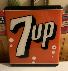 1950s New Old Stock Vintage NOS 7up Soda Plastic Rounded Wall Sign