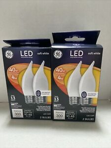 GE LED Soft White 40w Decorative Bulbs  Dimmable CAM Lot of 2 PC 37416