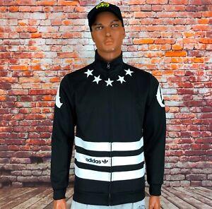 Men's ADIDAS ORIGINALS STAR TT Firebird Track Retro Jacket Black White Size M