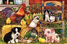 Stampa incorniciata-CARTONE ANIMATO PER BAMBINI FATTORIA DEGLI ANIMALI (PICTURE Rooster pulcini maiale per cani)