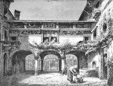 1890 ITALIEN VON WOLDEMAR KADEN=Veduta.Xilogr.CHIOSTRO DI UN GIARDINO DI VERONA
