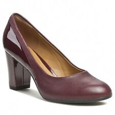 Clarks Women's Basil Auburn Patent / Leather Mid Heel Court Shoes, UK 3.5