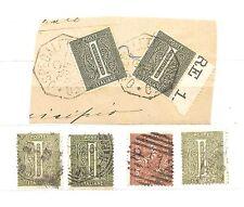 1863   ITALIA  Regno - lotto 6 valori usati : cifra Cent. 1 +  cifra Cent.2