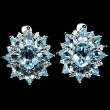 Sterling Silver 925 Genuine Natural Blue Topaz Cluster Stud Earrings