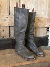 Señoras Botas de cuero plano Boho Style-tamaño 5 de color verde salvia