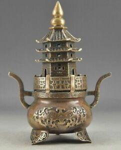 Brass Buddha Exorcism Handwork Old Hammered Pagoda Totem Incense Burner