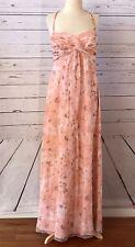 AMSALE 100% Silk Chiffon Floral Peach Orange Gown Bridesmaid Dress 10 NEW