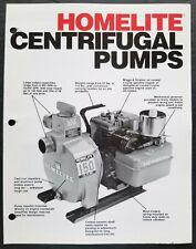 Homelite Centrifugal Pump Dealer Sales Brochure